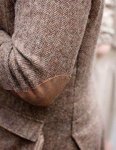 Herringbone blazer, elbow patches.