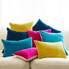 Velvet and Linen Backed Square Cushions, Home Accessories, OCRE/YELLOW. Velvet & Linen Backed Cushions - Cushions & Throws - Home Accessories. Textiles, Colourful Cushions, Funky Cushions, Modern Cushions, Velvet Cushions, Cushions Navy, Country Cushions, Sofa Cushions, Zara Home