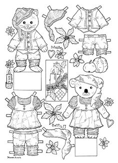 Cut-outs and Colouring Pages. : Christmas Bear and Doll Cut-outs to Colour. Jule bamse og dukke klippeark til at farvelægge. Fabric Doll Pattern, Fabric Dolls, Cool Coloring Pages, Coloring Pages To Print, Paper Fashion, Vintage Paper Dolls, Free Graphics, Christmas Paper, Colorful Drawings