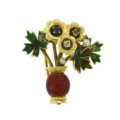 Mauboussin Paris Basket of Flower Brooch with Diamond, Topaz, Sapphire, Pearls