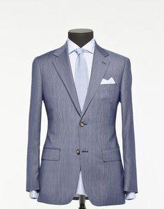 Tailored 2-Piece Suit - Fabric 3835 Stripe Blue 1