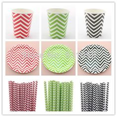 Wholesale Party Supply Disposable Chevron Dinner Set  Paper Straw Paper Plate Paper Cup FREE SHIPPING $420.00