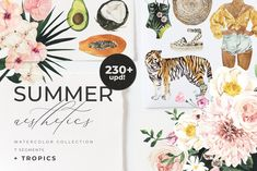 Ad: SUMMER AESTHETICS clipart + tropical by Lana Elanor on .with all those beautiful iconic things which all of us love in the summer! You will find inside a great variety of fashion outfits, wild Watercolor Design, Watercolor Illustration, Graphic Illustration, Design Illustrations, Creative Illustration, Tropical Frames, Have A Nice Life, Tropical Animals, Summer Scenes