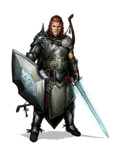 Human Sword and Board Fighter - Pathfinder PFRPG DND D&D d20 fantasy