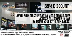 Avail 35% discount at La Moda sunglasses across all stores in the UAE by using your Citi Bank cards.  Download GL Deals app now to get more access to such offers! http://www.gldeals.com/myapp  #LaModa #Sunglasses #CitiBank #CitiBankOffers #App #MobileApp #AndroidApp #iOSApp #AppStore #PlayStore #Deals #Discounts #Offers #Cards #UAE #Like #Share #GLDeals #UAEDeals #DubaiDeals #DubaiOffers #FreeApp