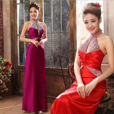Womens Grace Bodycon Halterneck Diamond Ball Gown Party Prom Cocktail Dress Show