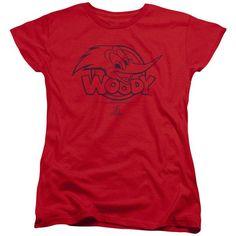 WOODY WOODPECKER/BIG HEAD-S/S WOMEN'S TEE-RED-2X  BIG HEAD | Cartoon T-Shirts | Mopixiestore.com