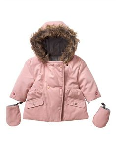 Baby Girl's Reversible Lined Parka (Maxi Warmth) PINK LIGHT SOLID / SILVER £29
