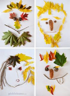 Leaf Faces - try this easy, low-mess, nature craft and art activity this autumn/fall Kids Crafts, Crafts For Teens To Make, Diy For Kids, Diy And Crafts, Arts And Crafts, Kids Nature Crafts, Autumn Crafts For Kids, Leaf Crafts, Plate Crafts