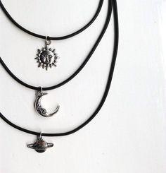 Xx Grunge style emo goth necklace charm choker sun moon Xx