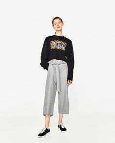 CROPPED TROUSERS WITH BELT-Culottes-TROUSERS-WOMAN | ZARA United States