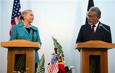 U.S. Secretary of State Hillary Rodham Clinton, left, speaks with East Timor Prime Minister Xanana Gusmao during a joint press conference at the Government Palace in Dili, East Timor Thursday, Sept. 6, 2012. (AP Photo/Jim Watson, Pool) ▼6Sep2012AP|Clinton in East Timor on democracy push http://bigstory.ap.org/article/clinton-east-timor-democracy-push #Dili #East_Timor #Timor_Lorosae #Hillary_Clinton #Xanana_Gusmao