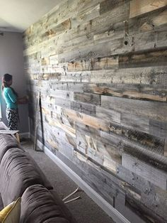 Possible wall treatment option Wood Panel Walls, Wooden Walls, Pallet Walls, Wooden Accent Wall, Wood Wall Design, Distressed Wood Wall, Accent Walls In Living Room, Ship Lap Walls, Deco Design