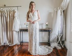 Jennifer Go Bridal - Champagne Dreams, French beaded lace with liquid silk satin bodice