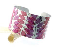 Cuff bracelet, women's nature jewellery, leaves and foliage design - B07 £17.50