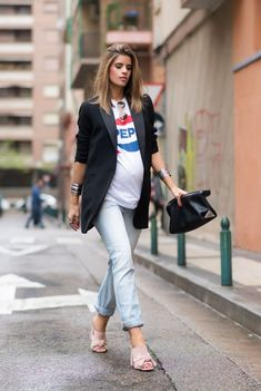 How to style your bump-- chic and fashionable maternity clothes and style! 36 weeks pregnant rocking a classic pepsi tee, blazer, and maternity jeans!