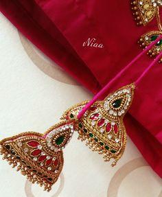 Saree Tassels Designs, Saree Kuchu Designs, Fancy Blouse Designs, Bridal Blouse Designs, Textiles, Gold Earrings Designs, Thread Jewellery, Sari, Latte