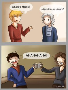 Where's Merlin? [ I love that Arthur now assumes Merlin is just derping around the tavern whenever he's missing! ha ha ]