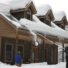 Clearing the snow from the roof is part of the chores that take place during winter. It's recommended to do this activity occasionally since lots of snow Cabin, House Styles, Places, Outdoor Decor, Top, Home Decor, Decoration Home, Room Decor, Lugares