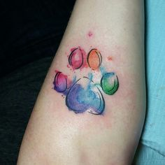 Image result for paw print watercolor tattoo