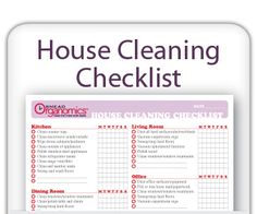 House Cleaning Checklist- Stay on top of cleaning tasks