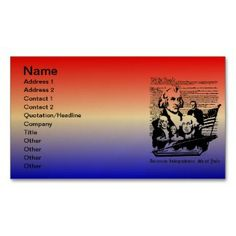 American Independence Day, 4th of July  Business C Business Card printed on a colored background.  Other colors available.