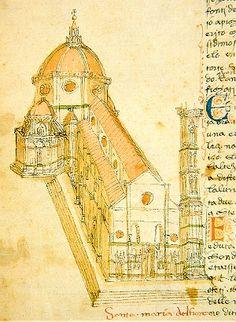 """S. Maria del Fiore come appare nel """"Codice Rustici"""" del XV secolo - Seminario Arcivescovile di Cestello - Firenze"""