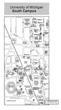 UM campus map Alumni Center Precedents Pinterest