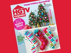 Decked-out mini trees, a felt pom-pom garland, and playful, patterned stockings make a mantel merry on the cover of the #HGTVMagazine December issue! http://www.hgtv.com/design/decorating/design-101/create-a-magazine-worthy-space-pictures?soc=pinterest