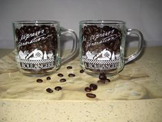Pair Clear Glass Coffee Mugs The Espresso Generation LA BOULANGERIE 10 Oz RARE! #Arcoroc