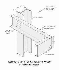 Resultado de imagen de farnsworth house plan measurements                                                                                                                                                                                 More Farnsworth House Plan, Casa Farnsworth, Architecture Concept Drawings, Brick Architecture, Architecture Details, Beam Hangers, Mid Century Exterior, Steel Frame House, Casa Patio