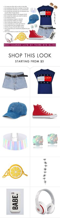 """Day 8 semi-charmed life by third eye blind"" by grace-buerklin ❤ liked on Polyvore featuring Tommy Hilfiger, SO, Converse, Glitzy Rocks, Beats by Dr. Dre and Chloé"