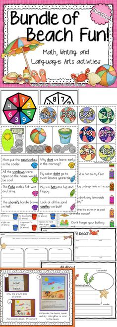 $ - Math, language arts and writing activities with a beach theme; works for whole group and small groups