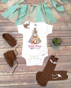 Wild One - First Birthday Shirt or Bodysuit, Woodland Animal Theme! (accessories/socks/shoes NOT included) This First Birthday Girl bodysuit or T-shirt is perfect for the Boho baby with adorable woodland Fox standing in front of a watercolor style teepee with tribal arrow, flowers, and