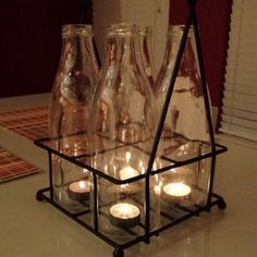 Old Milk jugs and tea lights :) so vintage!  Just need to find some!