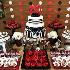 Festa anos 60: celebre o melhor da década (FOTOS E TUTORIAIS) 60th Birthday Ideas For Dad, Dad Birthday, Birthday Cake, Pin Up Party, Paper Crafts Origami, Music Party, Red Carpet Event, Ideas Para Fiestas, Red Wedding