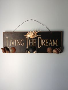 Rustic Wall Hanging Seashell Decorated Sign by SharingSeaShells, $28.00