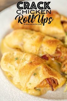 Crack Chicken Roll Ups - our favorite weeknight meal! Frozen chicken fingers, cheddar cheese, bacon and ranch wrapped in crescent rolls and topped with cream of chicken soup and milk. I always have to double the recipe for my family Chicken Roll Ups, Crack Chicken, Sandwiches, Weeknight Meals, Quick Meals, Crescent Roll Recipes, Chicken Crescent Rolls, Stuffed Crescent Rolls, Pillsbury Crescent Recipes