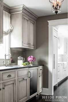 Like the stained weathered gray cabinet finish.
