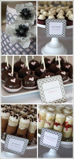Party Ideas, Dessert Bar - will definitely have to do he doesn't like cake and so many of our friends have allergies this way something sweet for everyone!