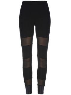 Black Casual Sheer Mesh Skinny Leggings