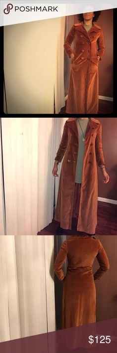 1960's Vintage Marguerite Rubel Floor Length Coat Gorgeous pre-owned vintage double breasted floor length velvet coat. Marguerite Rubel's fashion fame came out of the 50's & 60's in San Francisco w/especially stylish coats & jackets. Impeccably maintained w/no rips tears or bald patches in the velvet.  100% cotton The color is a bronzish rust orange. Labeled size 7 size 8. The model is 6 ft, sz 8, 34B bust. 3/4 sleeves w/slight ruching. Smoke free home. Any questions just ask. Thanks…