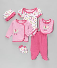 Take a look at this Pink Elephant Flower Six-Piece Layette Set by Duck Duck Goose on #zulily today!
