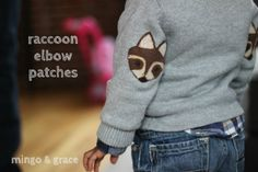 Yup this has my name written ALL over it. Just imagine the possibilities!!! Foxes, owls, bears oh my! RACCOON ELBOW PATCHES-mini tutorial