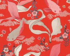 RW6830 Koi Fish Quirky Wallpaper, Fish Wallpaper, Wallpaper Paste, All Themes, Cole And Son, M Color, Design Development, How To Stay Healthy, Rooster