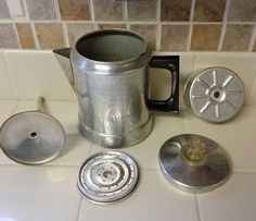 VINTAGE COMET ALUMINUM CAMPING STOVETOP COFFEE POT MAKER PERCOLATOR 7 CUPS