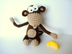 Amigurumi Pattern, Amigurumi Monkey Pattern, Crocheted Monkey Pattern with Banana. $4.00, via Etsy.