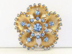 Vintage Blue Rhinestone Gold Tone Floral Brooch Pin B-3-1