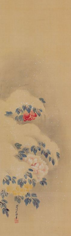 Japanese Fine Art Wall Hanging Scroll Peony Flower in the Snow Painting Kakejiku – 1502154