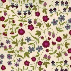 Tissu liberty of London ® motif Mirabelle prune, fuschia et vert sur fond rosé (x 0,25m)